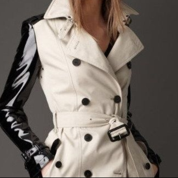 d6469767df7 Burberry Jackets & Coats | Trench Coat W Patent Leather Sleeves ...